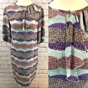 Tucker multicolored print silk dress M